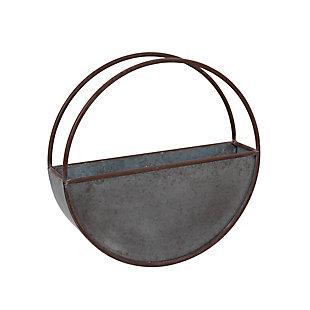 "Gerson International 18"" Outdoor Diameter Galvanized Metal Circular Wall Planter, , large"