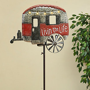 """Gerson International 63"""" Outdoor Solar Powered, Antique-Style Metal Camper Yard Stake with Wind Spinner, , rollover"""