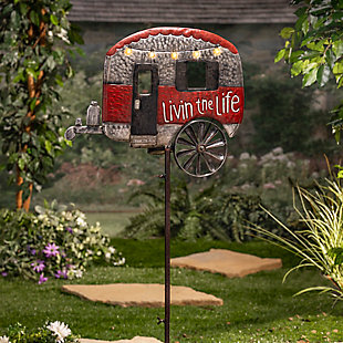 """Gerson International 63"""" Outdoor Solar Powered, Antique-Style Metal Camper Yard Stake with Wind Spinner, , large"""