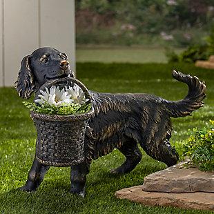 "Gerson International 23.7"" Outdoor Magnesium Dog Figurine Planter, , rollover"