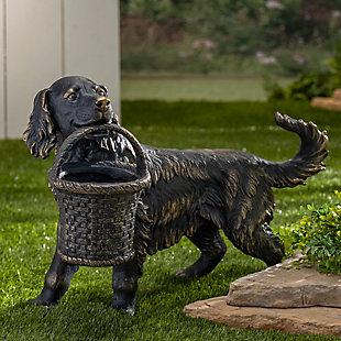 "Gerson International 23.7"" Outdoor Magnesium Dog Figurine Planter, , large"
