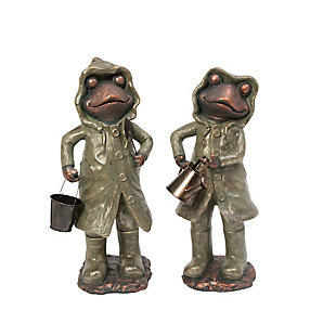 "Gerson International 24.6"" Outdoor Assorted Magnesium Garden Frog Figurines (Set of 2), , large"