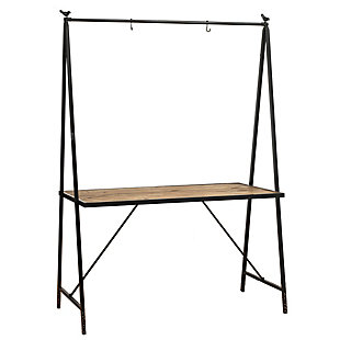 "Gerson International 80"" Outdoor Metal and Wood Table with Hanging Rack, , rollover"