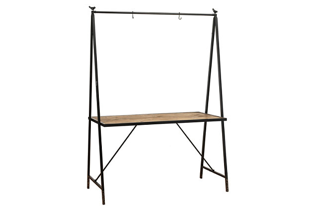 """Gerson International 80"""" Outdoor Metal and Wood Table with Hanging Rack, , large"""