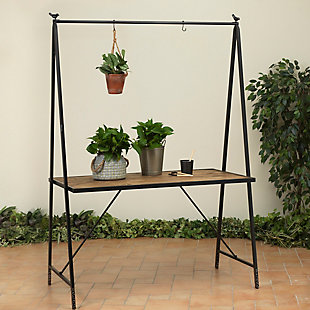 "Gerson International 80"" Outdoor Metal and Wood Table with Hanging Rack, , large"