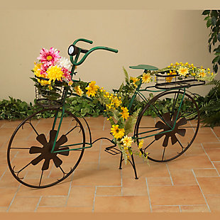 """Gerson International 53"""" Outdoor Solar-Powered Metal Antique-Style Bicycle Plant Stand with Wind Spinner Spokes, , rollover"""