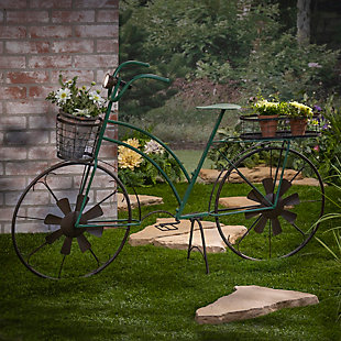 """Gerson International 53"""" Outdoor Solar-Powered Metal Antique-Style Bicycle Plant Stand with Wind Spinner Spokes, , large"""