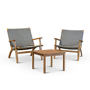 Gerson International 3-Piece Outdoor Eucalyptus Wood and Resin Wicker Conversation Set, , large