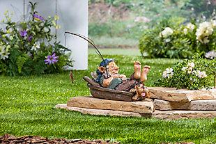 "Gerson International 12.2"" Outdoor Garden Gnome Fishing with Dog Figurine, , rollover"