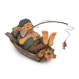 """Gerson International 12.2"""" Outdoor Garden Gnome Fishing with Dog Figurine, , large"""