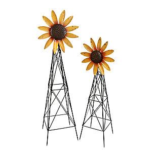 Gerson International Outdoor Assorted Metal Spinner Sunflower Windmills, (Set of 2), , large