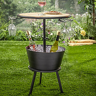 "Gerson International 35.75"" Outdoor Metal and Wood Outdoor Wine Table with Ice Bucket, , rollover"