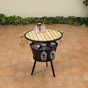 "Gerson International 35.75"" Outdoor Metal and Wood Outdoor Wine Table with Ice Bucket, , large"