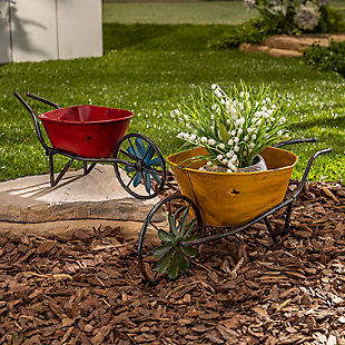 """Gerson International 66"""" Outdoor Assorted Antique-Style Metal Wheelbarrow Planters with Wind Spinner Wheel (Set of 2), , rollover"""