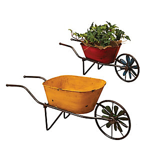 """Gerson International 66"""" Outdoor Assorted Antique-Style Metal Wheelbarrow Planters with Wind Spinner Wheel (Set of 2), , large"""