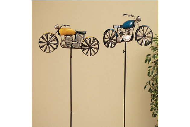 """Gerson International 63"""" Outdoor Antique-style Metal Motorcycle Wind Spinners (set Of 2), , large"""