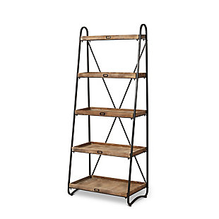 """Gerson International 66.9"""" Outdoor Metal and Wood Shelf with 5 Shelves, , rollover"""