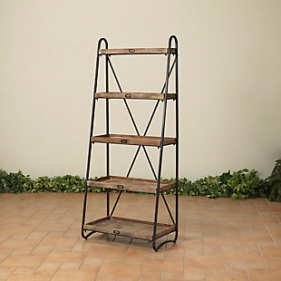 """Gerson International 66.9"""" Outdoor Metal and Wood Shelf with 5 Shelves, , large"""