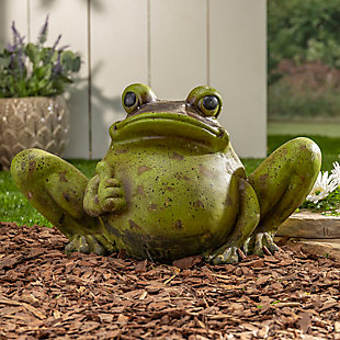 "Gerson International 22"" Outdoor Magnesium Antiqued Garden Frog, , rollover"