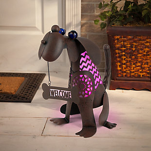 "Gerson International 12.85"" Outdoor Solar Lighted Garden Meadow Welcome Dog, , rollover"