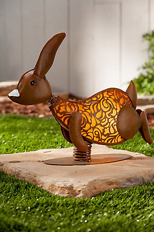 "Gerson International 14.37"" Outdoor Solar Lighted Garden Meadow Rabbits (Set of 2), , large"