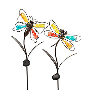"""Gerson International 41.7"""" Outdoor Solar Lighted Metal And Glass Dragonfly Yard Stakes (set Of 2), , rollover"""