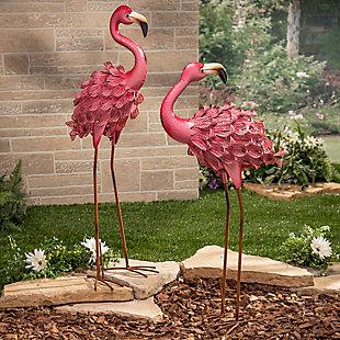 "Gerson International 34.6"" Outdoor Assorted Pink Metal Flamingo Figurines (Set of 2), , rollover"