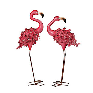 "Gerson International 34.6"" Outdoor Assorted Pink Metal Flamingo Figurines (Set of 2), , large"