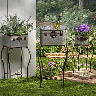Gerson International Outdoor Galvanized Metal Antique-style Plant Holders With Stands,(set Of 3), , rollover