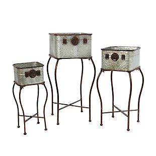 Gerson International Outdoor Galvanized Metal Antique-style Plant Holders With Stands,(set Of 3), , large