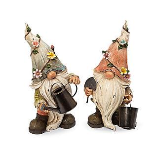 "Gerson International 15.1"" Outdoor Resin Garden Gnome Figurines (Set of 2), , rollover"