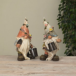 """Gerson International 15.1"""" Outdoor Resin Garden Gnome Figurines (Set of 2), , large"""