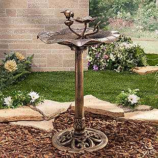 "Gerson International 32"" Outdoor Antique-Style Birdbath with Bronze Finish and Bird and Flower Accents, , rollover"