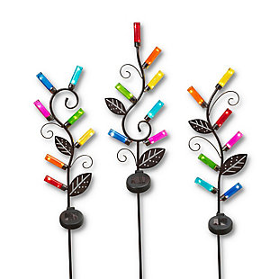 """Gerson International 37.8"""" Outdoor Solar Metal Glass Bottle Yard Stakes (Set of 3), , rollover"""