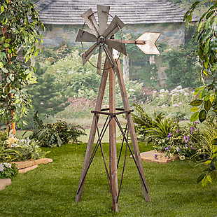 """Gerson International 59"""" Outdoor Metal and Wood Windmill Yard Decor, , rollover"""
