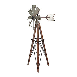 """Gerson International 59"""" Outdoor Metal and Wood Windmill Yard Decor, , large"""