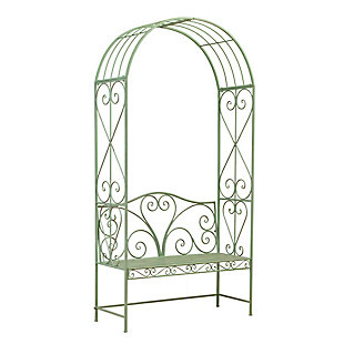 """Gerson International 90.5"""" Outdoor Antique-Style Metal Arch with Bench, , rollover"""