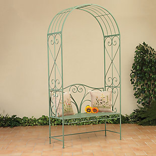 """Gerson International 90.5"""" Outdoor Antique-Style Metal Arch with Bench, , large"""