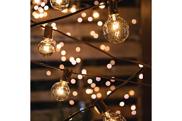 Gerson International 20' Outdoor Electric Patio Light Strings with 20 G40 Bulbs (40 Bulbs Total) (Set of 2), , large
