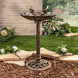 "Gerson International 31.5"" Outdoor Antique-Style Birdbath with Bronze Finish and Bird and Sea Shell Accents, , rollover"