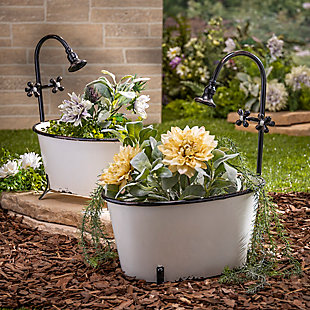 Gerson International Outdoor Assorted Antique-Style Metal Bathtub Planters with Faucet Accent (Set of 2), , rollover