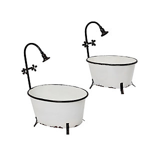 Gerson International Outdoor Assorted Antique-Style Metal Bathtub Planters with Faucet Accent (Set of 2), , large