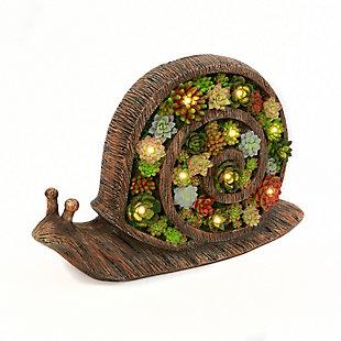 "Gerson International 16.6"" Outdoor Solar Lighted Resin Garden Snail with Succulent Details, , rollover"