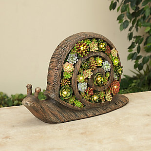 """Gerson International 16.6"""" Outdoor Solar Lighted Resin Garden Snail with Succulent Details, , large"""