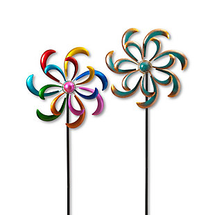 """Gerson International 81.8"""" Outdoor Multicolor Metal Wind Spinner Stakes (Set of 2), , rollover"""