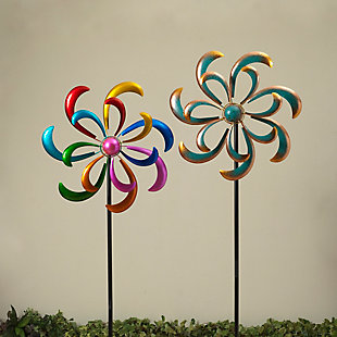 """Gerson International 81.8"""" Outdoor Multicolor Metal Wind Spinner Stakes (Set of 2), , large"""