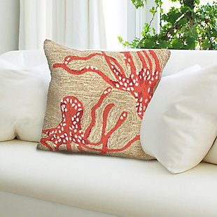 "Deckside Ocean Legs Indoor/Outdoor Pillow Coral 18"" Square, , rollover"