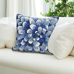 """Deckside Flora Bloom Indoor/Outdoor Pillow Blue 18"""" Square, , rollover"""