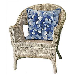 "Deckside Flora Bloom Indoor/Outdoor Pillow Blue 18"" Square, , large"
