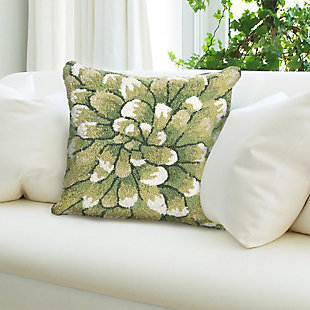 """Deckside Flora Bloom Indoor/Outdoor Pillow Green 18"""" Square, Green, rollover"""